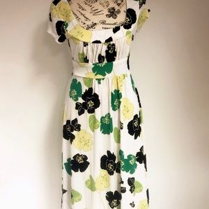 Bisou floral green yellow short sleeve dress 8
